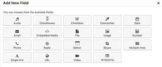Tipos de campos personalizados soportados en Toolset para entradas personalizadas